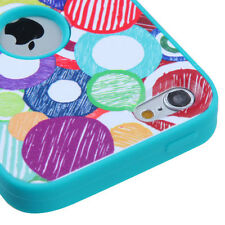 for iPod Touch 5th / 6th Gen - BLUE SKETCH CIRCLES Hard&Soft Rubber Hybrid Case