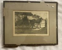 Antique Art 1905 Half Past Supper Time Print Horse Buggy Couple Kissing Signed