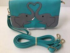 EUC Elephant Crossbody Clutch Wristlet Sleepyville Critters Aqua