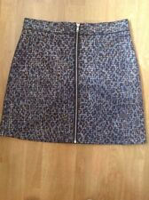 WAREHOUSE NAVY/GOLD/SILVER ZIP FRONT SKIRT UK SIZE 14(MORE LIKE 12) BARELY WORN
