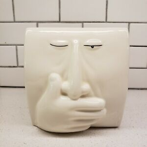 Ceramic Sneezing Ah Choo Face 3D Tissue Box Cover Humorous Wink HTF Fitz Floyd