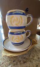 Italian Romana Sambuca Coffee Tea Mugs Cups Saucer Handpainted Heavy Stoneware
