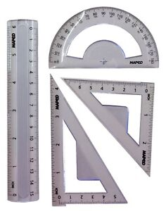 Geometry Set, Maths Protractor, Ruler, Squares/Triangles School Stationery Pack
