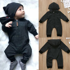 Infant Newborn Baby Boys Girl Gray Cotton Hoodie Romper Jumpsuit Clothes Outfits