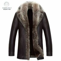 Mens Winter Warm Fur Lined Jacket Real Fur Collar Sheepskin Leather Mid Long Sz