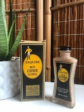 RARE Vintage ESQUIRE Leather Cleaner W/ BOX Glass ADVERTISING Bottle MCM 1950s