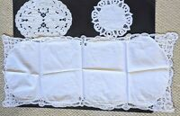 Lot 3 Vintage Style White Cotton Crochet Round Oval Lace Doily Table Runner