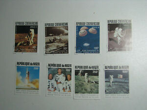Set of 8 Stamps Apollo Space Exploration Moon Program 1989 Central African Niger