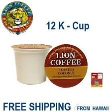 Lion Coffee 12 K-Cups TOASTED COCONUT Single Serve Pods Keurig* - Hawaiian Isles
