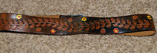 Vintage Levi'S Leather Belt with Etched Leaves & Painted Flowers - Size 30