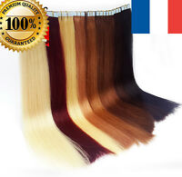 7A 40-50CM EXTENSIONS DE CHEVEUX TAPE BANDES ADHESIVE POSE A FROID NATUREL