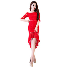 Women Slim Fit Off Shoulder Lace Fishtail Wedding Dress Red Party Prom Ball Gown