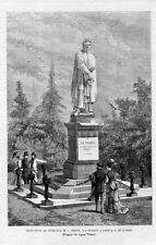 Stampa antica PADOVA Monumento a Petrarca 1874 Old print
