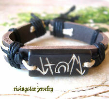 Men's Christian Jesus Resurrection Significant Symbol Yak Bone Leather Bracelet