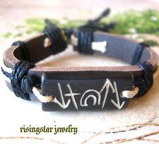 Men's Christian Jesus Resurrection Significant Symbol Yak Bone Leather Bracelet