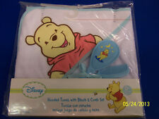 Winnie the Pooh Hooded Towel, Brush & Comb Set Baby Shower Party Gift - Blue