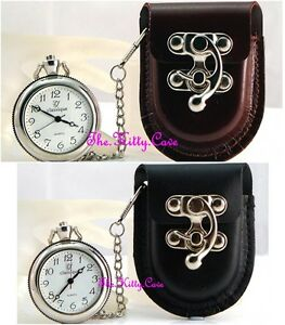 Open Face Unisex Pocket Fob Watch w/ Vegan Leather Belt Pouch, Case Ornate Clasp