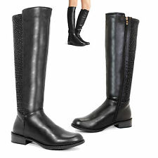 WOMENS GIRLS MID CALF FLATS LEATHER RIDING ZIP KNEE BIKER SHOES BOOTS SIZES 3-8