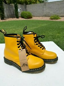 Dr Martens 1460 Smooth Leather 8 Eye Lace Up Boots Womens US 10 Yellow NEW