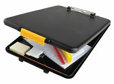 Dexas Clipboard Slimcase Storage Black Bottom Open Snap Lock  9.5
