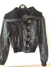 Black Ladies River Island Genuine Bomber Leather Jacket Size 8 UK