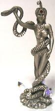 """Vintage 1989 Masterworks Fine Pewter Women Snake Serpent Cobra 3 Crystals 3.75"""""""