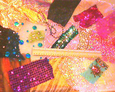 glittery fabric off-cuts/scraps for collage/card making/ kids crafts etc