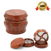 Tobacco Herb Grinder Spice Herbal Alloy Smoke Crusher 4 Piece  Wooden WOOD 50MM