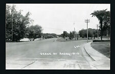 Amery Wisconsin WI c1940s RPPC Lakeside Dr, Y in Road, Old Cars on Boulevard   )