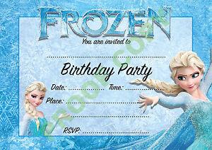 #1 FROZEN (1) Pack of 10 Princess Elsa kids children birthday party INVITATIONS