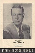 "Joe E. Brown ""HARVEY"" Mary Chase / Pulitzer Prize 1947 Minneapolis Playbill"