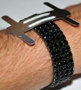 1 Black Rhinestone Flower Corsage Wristlet Band Wristband Stretch Holder Wedding