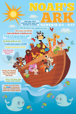 NOAH'S ARK FOR KIDS (Genesis 6:1 - 9:17) Judeo-Christian Bible Cartoon Poster
