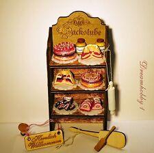 Kuchen-u.Tortenregal,Backstuben-Regal viel Zubehör f.Kaufladen u.Puppenhaus 1:12