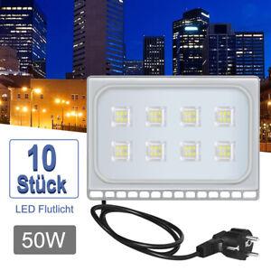 10X 50W Ultra Dünn LED Fluter Mit Stecker Flutlicht Außen Scheinwerfer Kaltweiß