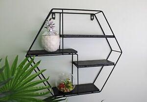 Black Wall Shelf Metal Hexagonal 4 Wooden Display Shelve Storage Unit Decor 40cm