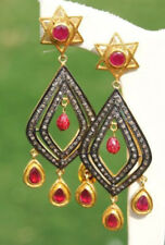 Ruby Dangle Wedding Party Design Earrings 2.60ct Antique Rose Cut Diamond Silver