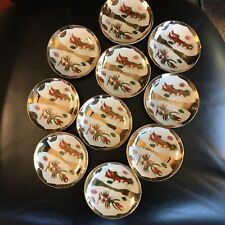 Beautiful Set Of 10 Chinese Gold & Red Dragon Soy Sauce Dishes Very Good Cond