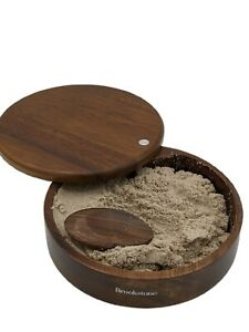 "BrookStone Original Walnut Executive Sandbox with Sand 6.5"" diameter Swivel Top"