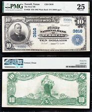 NICE *RARE* Bold & Crisp VF+ 1902 $10 TERRELL, TX National Note! PMG 25! 39984