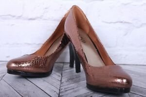 NEW LIMITED M&S High Court Pumps Gold Copper Snake Skin Leather RRP £69 UK 5.5
