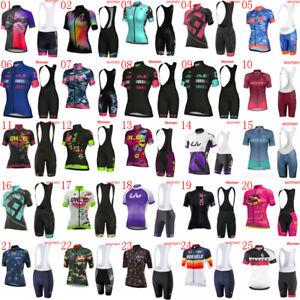 Summer Team Cycling Jersey Suit Womens Short Sleeve Shirts Bike Bib Shorts Set
