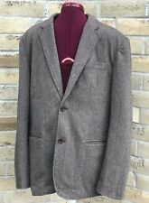 GAP Men's Large Sport Jacket Brown Herringbone Wool Blend Single Breasted Blazer