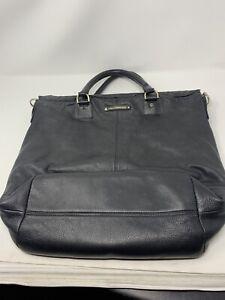 Diane Von Furstenberg Black Leather Drew Bucket Tote Bag Flaw