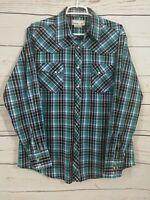Wrangler Wrancher Western Shirt ~ Pearl Snap ~ Blue & Black Plaid ~ Men's Large