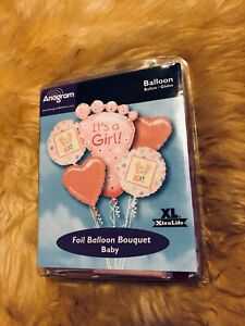 NEW Anagram IT'S A GIRL 5pc Foil  Balloon Set Baby Shower Gender Reveal Party