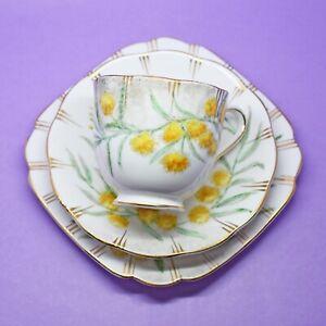 Royal Albert, Yellow Blossom, Tea Cup, Saucer and Plate Trio Vintage, England