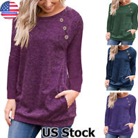 Women's Long Sleeve Crew Neck Pullover Sweater Casual Pocket Blouse Tops T Shirt