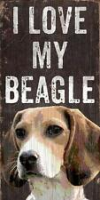 Pet Dog Sign - I Love My Beagle [NEW] Rectangular Wood Wall House Puppy Poster