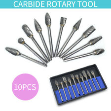1/8'' 10Pcs Cemented Carbide Long Rotary Files Double Cut Burr Set Shank Metal